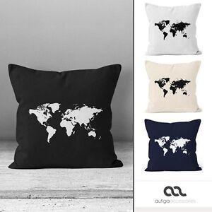 kissen weltkarte bedruckter Kissenbezug 40x40 Weltkarte World Map Kissen Hülle  kissen weltkarte