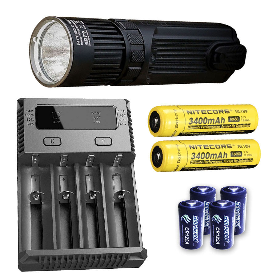 Nitecore SRT9 Flashlight w/I4 Charger, 2x NL189 & 4x 4x & CR123A Batteries e698b7