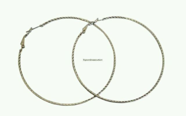 728303393fb05 Silver Large Thin Hoop Earrings 70mm