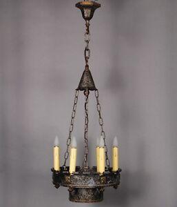 Details About 1920 S Spanish Revival Antique 6 Light Narrow Chandelier Vintage Tudor 10008
