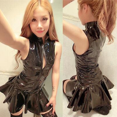 Sexy Women Fancy Dress Wet Look PVC Shiny Clubwear Dance Party Skirt Costumes
