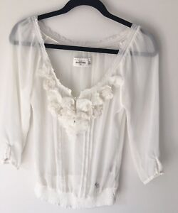 Abercrombie-And-Fitch-Girls-Ivory-With-Flowers-Fancy-Shirt-Kids-Size-XL-New