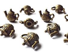 10 x Quality Bronze Tone Teapot Tea Pot Charms Pendants, Jewellery Craft, 16mm