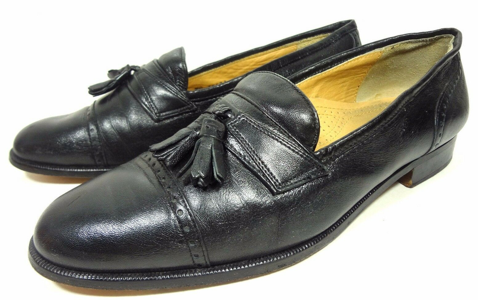 Pierre Cardin  Espace  Mens Black Loafers Tassel Leather shoes 9.5 D