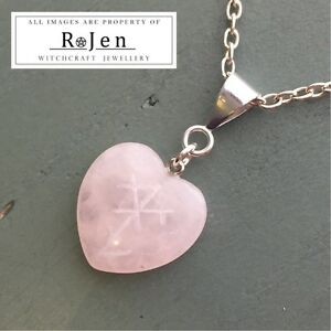 Details about Hand Engraved PROTECTION OF THE HEART Rose Quartz Nordic  Stave Rune Sigil Wicca