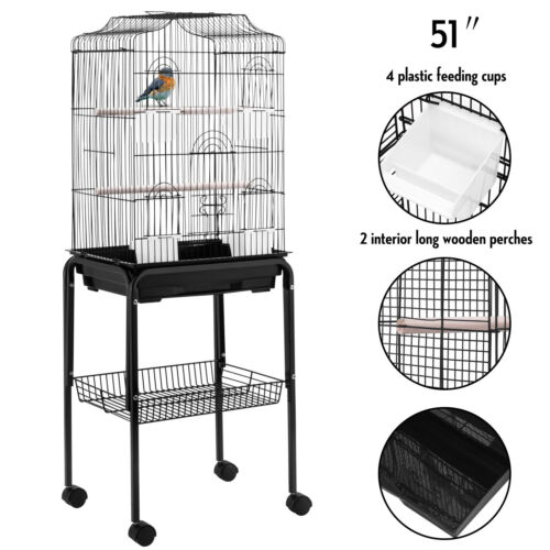 "36/'/'53/""60/""Large Bird Cage Play Top Parrot Finch Cage Cockatoo Macaw Pet House"