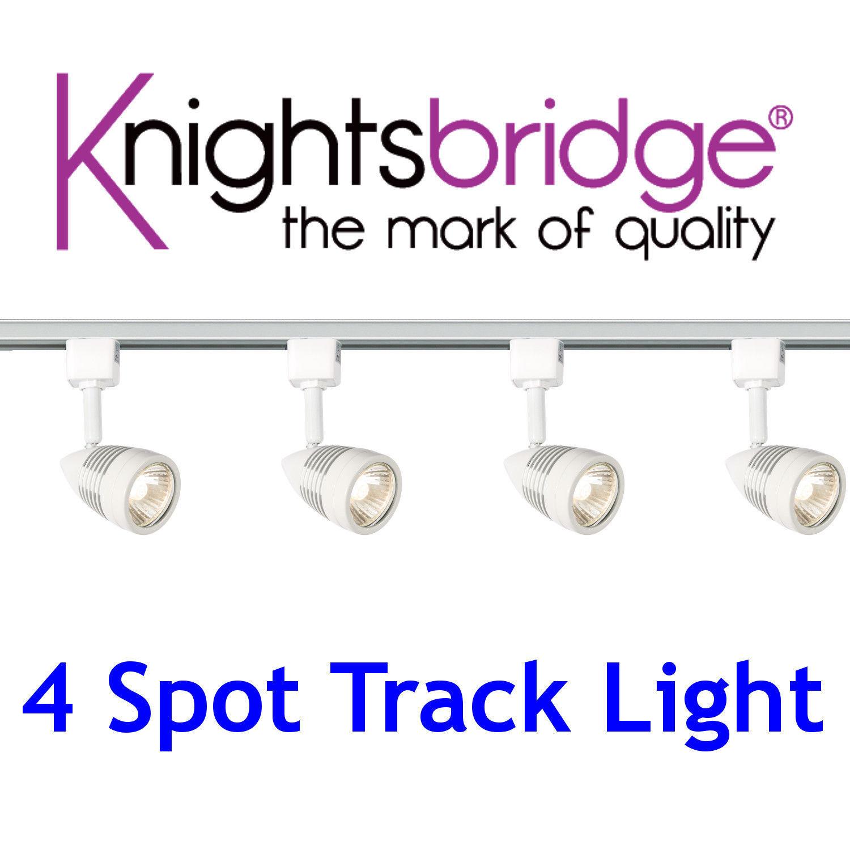 Knightsbridge Track Lighting Set 4 Spotlight GU10 LED Spot Light Weiß 2m Metre