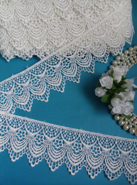 "2-3/8"" Victorian Style Wedding White Venise Floral Finge Lace -1 Yard-T670"