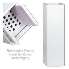 "Japanese Ikebana Plastic Vase White 13""H x 3.75""SQ /Made in Japan"