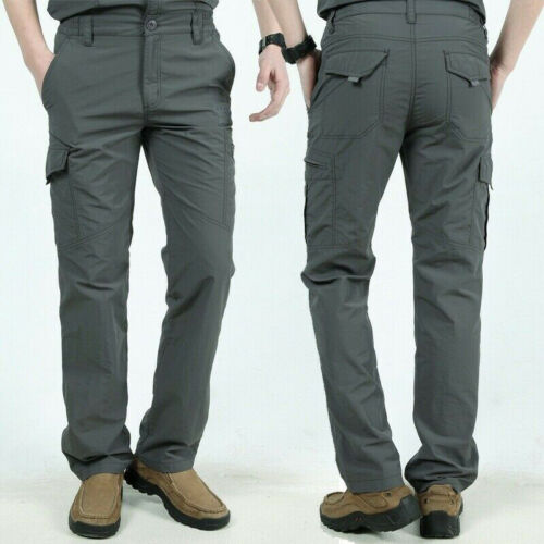 Mens Tactical Pants Lightweight Outdoor Military Army Combat Cargo Work Trousers
