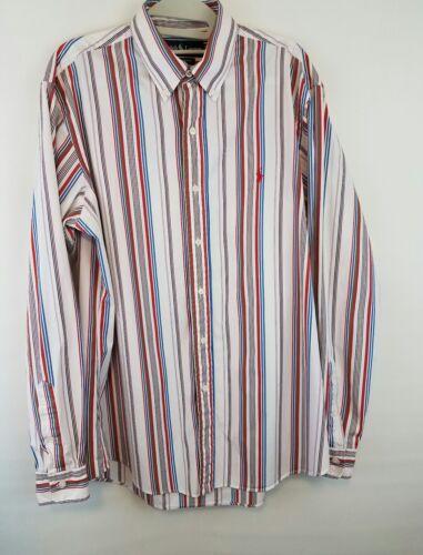 Polo Ralph Lauren 16 34/35 Custom Fit Striped Shirt Long Sleeve White Red Blue