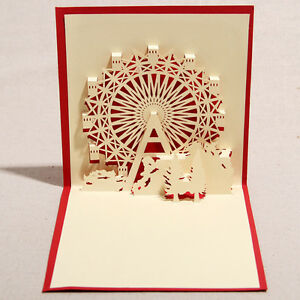 3D-handmade-holiday-gift-Ferris-wheel-origami-paper-cut-crafts-greeting-cards