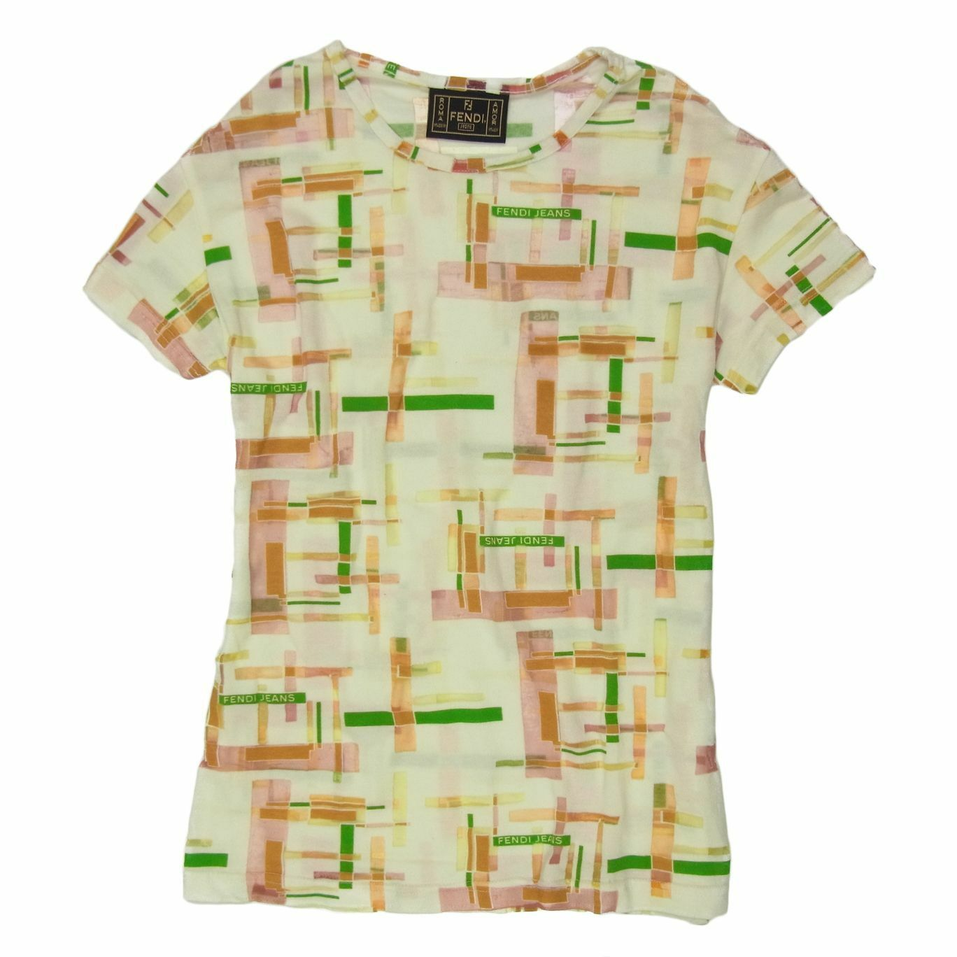 Auth FENDI Jeans Logos Stretchable T Shirt Tops Sz 40 US M F S 1647