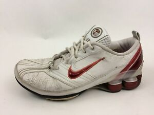 d57f6cb0ade Nike Shox Womens 7.5 M Sneaker Shoes Athletic White Red Training ...