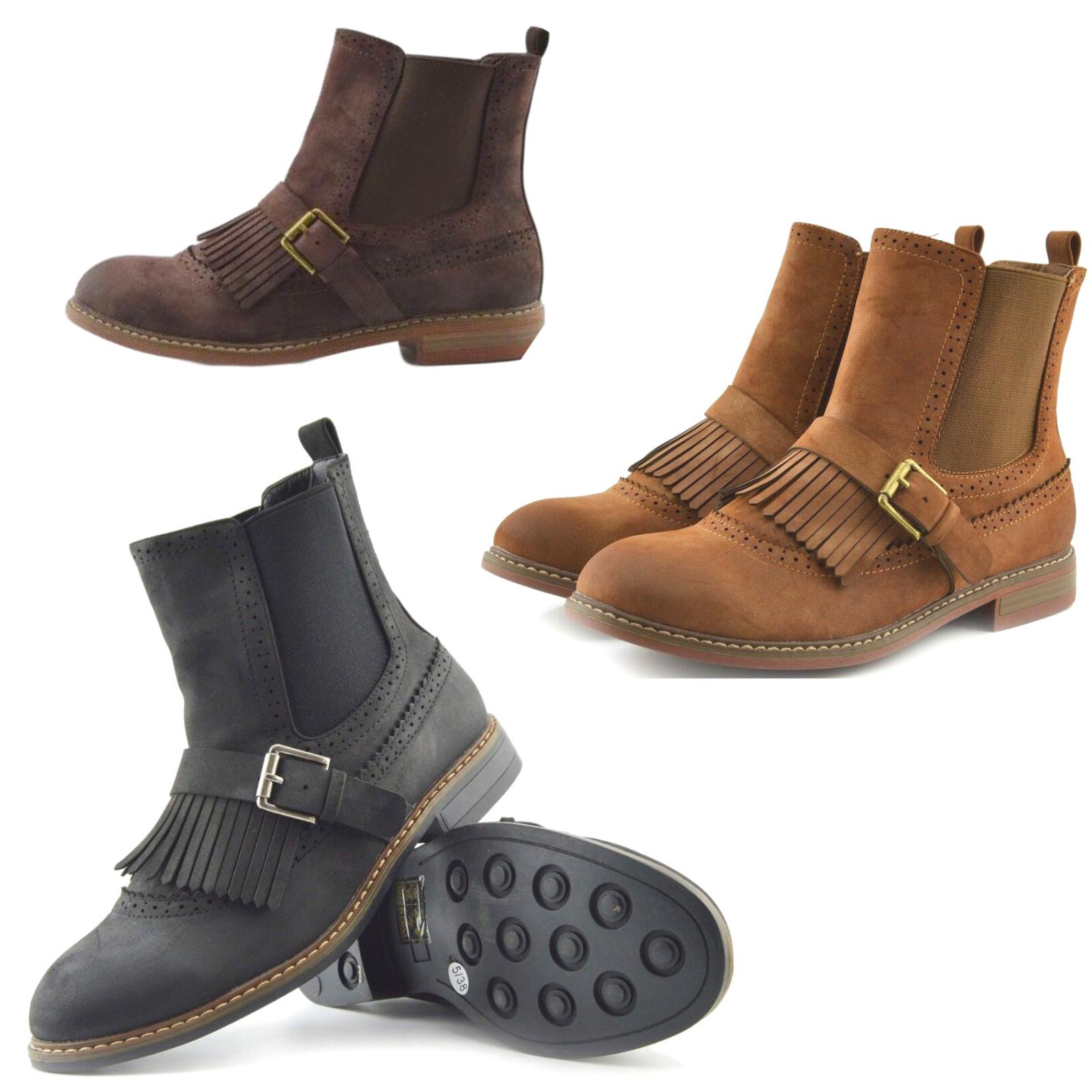 Women's Ladies Casual Brogue Ankle Shoes Retro Dealer Boots Black Tan Brown Size