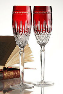 Details About Waterford Crystal Clarendon Ruby Red Champagne Flutes 2 Nice