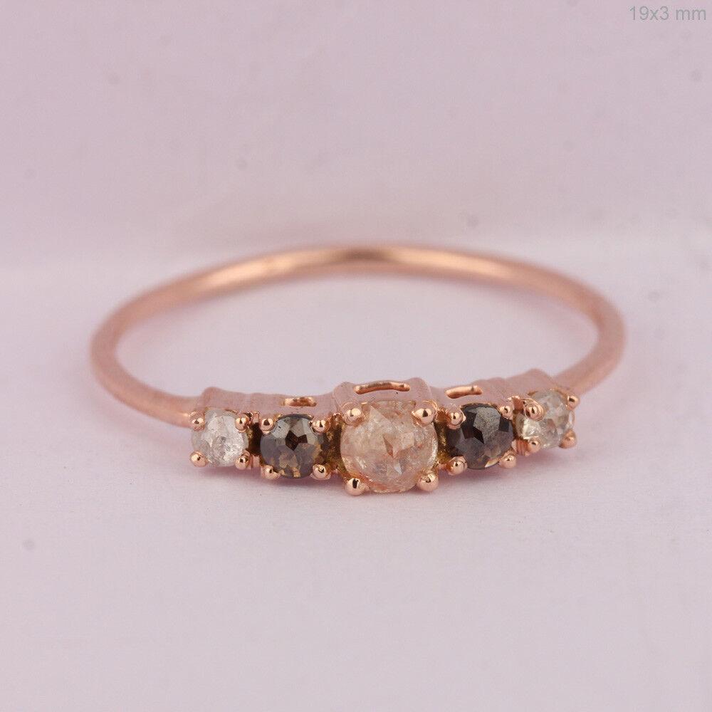1707c5678075e US7 Handmade Ring Wedding Delicate Diamond Ct 0.42 Natural gold pink ...