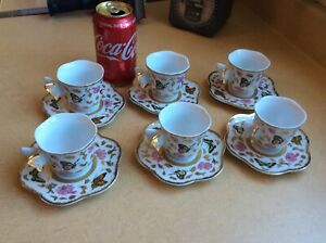 CC-amp-T-6-CUPS-TEA-OR-COFFEE-AND-SAUCERS-W-BUTTERFLY-HANDLE