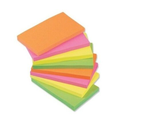 "10 packs of 100 1000 NEON Remove Sticky Notes 76mm x 127mm 3/"" x 5/"""