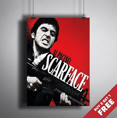 SCARFACE PACINO MOVIE POSTER FILM A4 A3 ART PRINT CINEMA