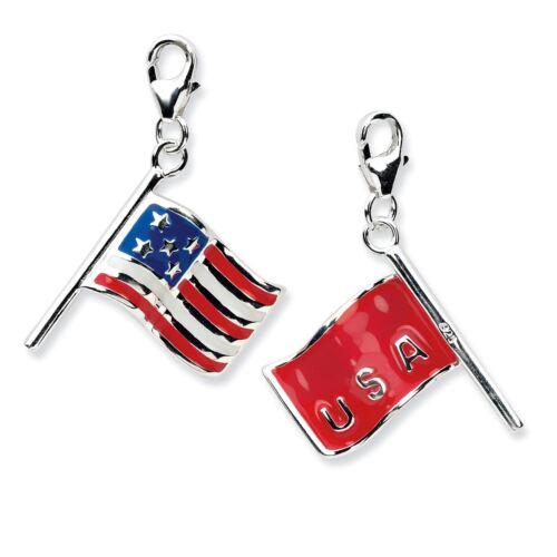 Amore La Vita 925 Sterling Silver 3D Enameled American Flag w//Lobster Charm