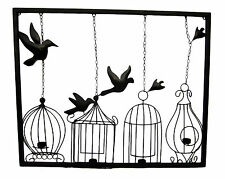 BIRD CAGES  CANDLE/ TEA LIGHT Metal Wall Art  Indoor Outdoor Use 102 cm wide new
