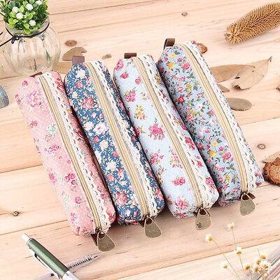 Girls Flower Lace Floral Pencil Case Pen Bag Purse Cosmetic Makeup Pouch Bag F5