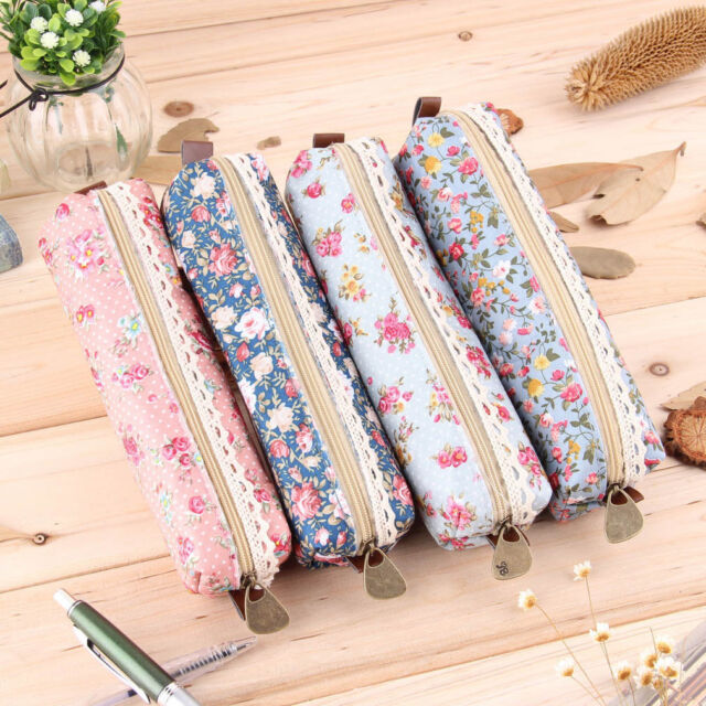 Girls Flower Lace Floral Pencil Case Pen Bag Purse Cosmetic Makeup Pouch Bag F5