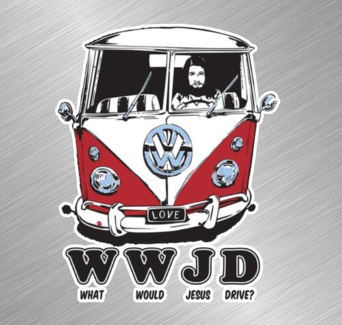 WWJD Jesus Drive Vinyl Decal Sticker Van VW Volkswagen Vintage Bug Bus Beetle