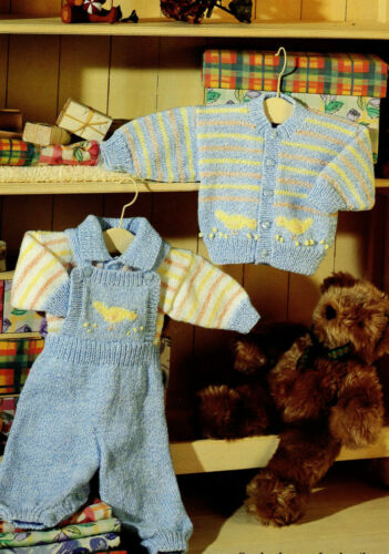 sweater and cardigan  knitting pattern in DK Wool Baby dungarees 0-24 months