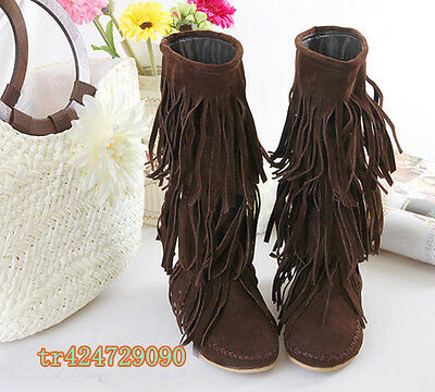 2013 New Women's Mid-Calf Tassels Boots Flat Heel Shoes Fringes AU All Size Y621