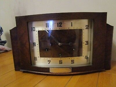 Vintage Art Deco German HAC Movement Walnut Mantel Clock With Westminster Chimes