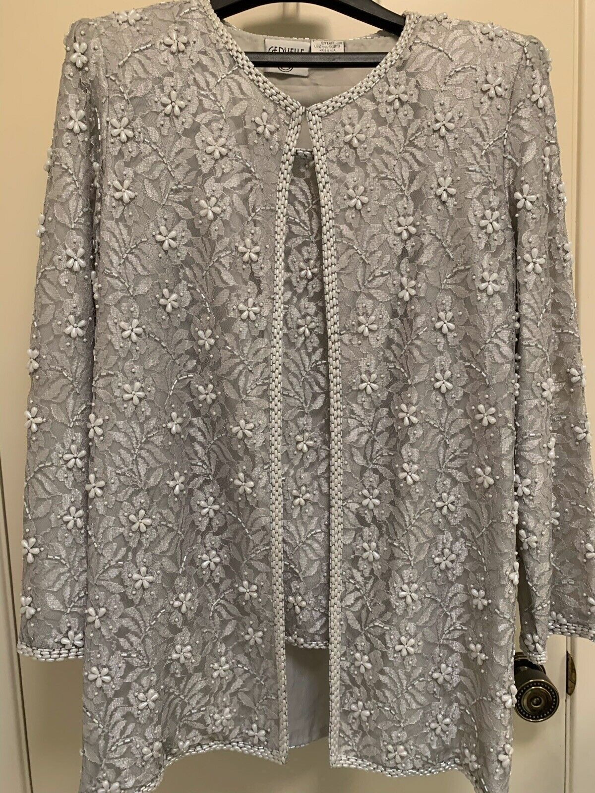 Cervelle Womens Silver Grey Beaded Pearls Evening Jacket & Top M L Holidays (p)