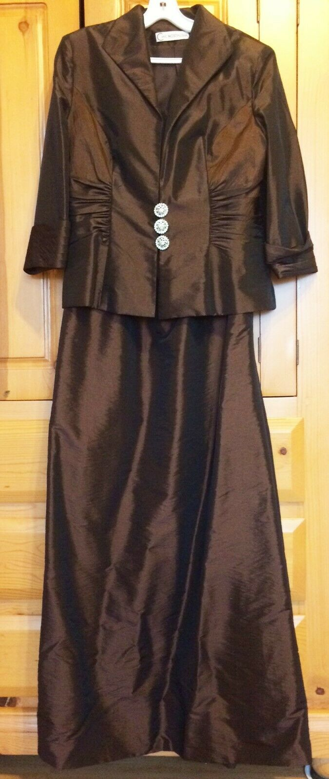 Mother of Bride Dress Suit Jacket Formal A-Line Taffeta 3/4 Sleeves Brown 12, 10