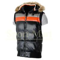 Mens Crosshatch Fur Hooded Gilet Bodywarmer Quilted Padded Jacket Size