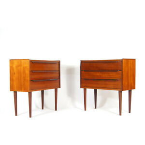 Pair of Retro Vintage Danish Teak Bedside Tables Cabinets 1960s Chest of Drawers
