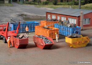 KIBRI-38648-Set-di-container-aperti-per-rifiuti-da-cantiere-8-pz-Scala-H0