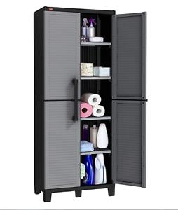 Image Is Loading Utility Storage Cabinet Cupboard Organizer For Garage Kitchen