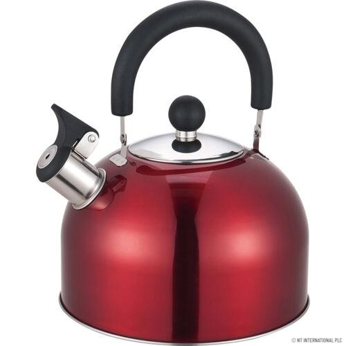 2.5 L sifflement bouilloire Camping Pêche gaz électrique portable Bouilloire Rouge Nouveau