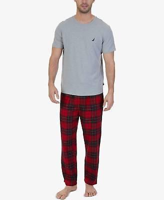 $48 NAUTICA MEN/'S PAJAMA FLANNEL PANTS RED WHITE PLAID SLEEPWEAR SIZE M