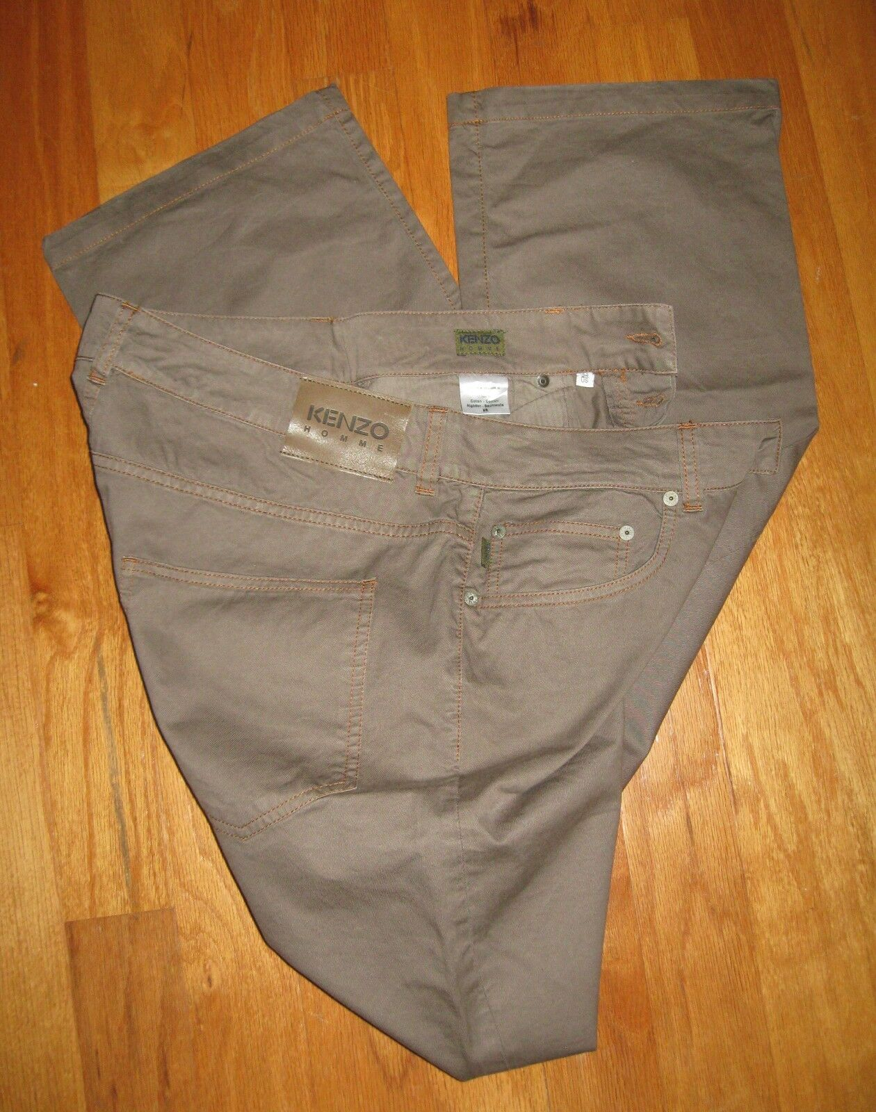 KENZO HOMME MEN'S BROWN 100% COTTON BUTTON FLY STRAIGHT PANT SIZE 34 X 34 NWOT