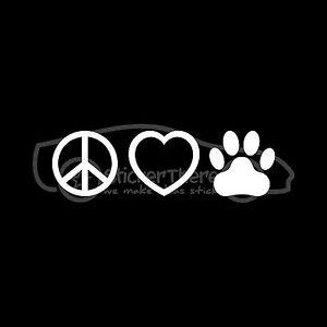 PEACE-LOVE-PAW-Sticker-Car-Window-Vinyl-Decal-Animal-Pet-Heart-Cat-Dog-Adopt-V2