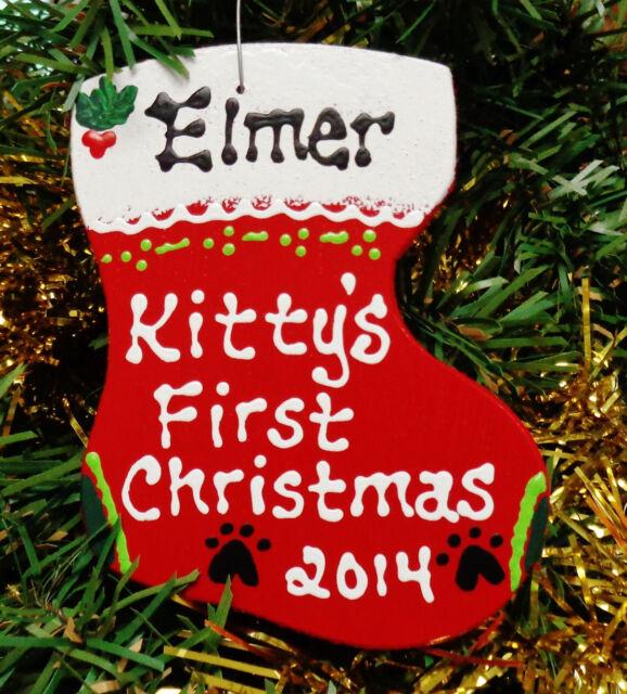 CAT Ornament U CHOOSE NAME & YEAR Kitty's 1st Christmas