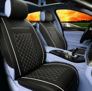 Black-white-PU-Front-Car-Seat-Leather-Pad-Universal-Covers-Cushion-Breathable