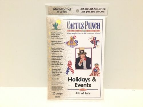 Cactus Punch 4th of July Holiday Embroidery Digitizing Designs CD NEW SEALED
