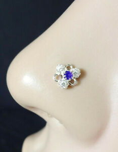 Sapphire Nose Stud 14g Nose Ring Nose Jewelry Indian Nose Ring 22g