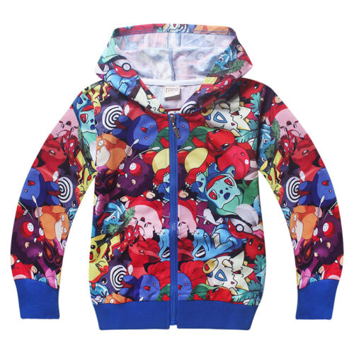 Pokemon Go Pikachu Kids Boy Hooded Top Pullover Hoodie Shirts Pants Outfits Set