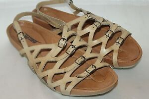 f34d813f5ef5c EARTH Nude Laser Cut Leather Comfort Open Toe Buckle Footbed Sandals ...