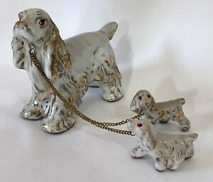 Vintage-Cocker-Spaniel-Figurine-Mother-Puppies-on-Leash-Golden-Blonde-Dogs-JAPAN