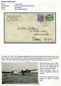 Netherlands-cover-CRASH-MAIL-1939-FLYING-BOAT-CHALLENGER-Mozambique
